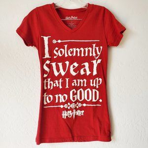 Harry Potter Up To No Good V Neck Graphic Red Top